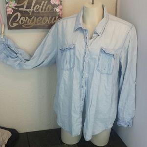 LB adj long sleeve button lightwash shirt top 24